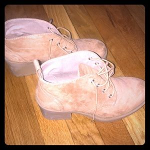 Tan Suede Lace Up Boots